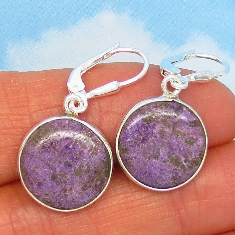 Dainty Very Rare Natural Purpurite Earrings - 925 Sterling Silver - Dangle - Flat Round Discs - Small - Genuine Purpurite - su271501pr