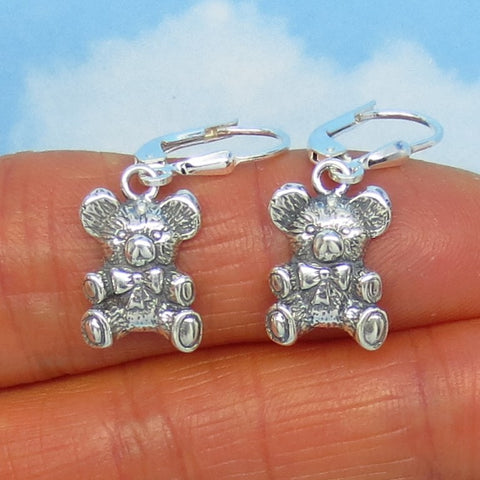 Sterling Silver Teddy Bear Earrings - Leverback Dangle - Dimensional - su000836