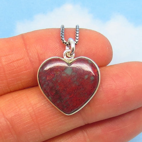 Small Natural Sonora Sunrise Cuprite Heart Pendant Necklace - 925 Sterling Silver - su280856