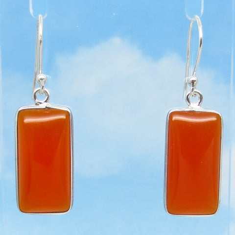 "1-1/2"" Natural Carnelian Earrings - 925 Sterling Silver - Genuine - Rectangle - Cushion Cut - Dangles - Wires or Leverbacks - su281802-L"