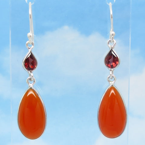 "2"" Natural Carnelian Earrings - Genuine Garnet Accent - 925 Sterling Silver - Pear Shape - Long Dangles - Wires or Leverbacks - su281801-L"