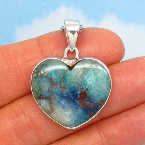 Rare Quantum Quattro Heart Pendant Necklace - 925 Sterling Silver - Genuine - Natural - Heart Chakra - h281806