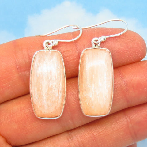 "1-5/8"" Natural Peach Selenite Earrings - 925 Sterling Silver - Wires or Leverback Dangle - Cushion Cut - Desert Rose Gypsum - 281506-L"