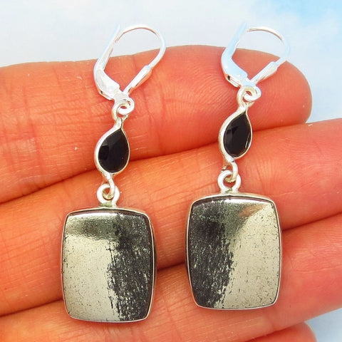 Golden Pyrite in Magnetite Earrings Sterling Silver Leverback Apache Gold - Square Rectangle - Black Onyx - Dangle 281601-r