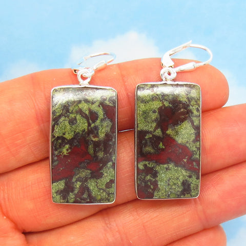 Dragon Bloodstone Earrings - Leverback - 925 Sterling Silver - Rectangle Cushion Cut - Heliotrope - Jasper - Dangles - su181501-r
