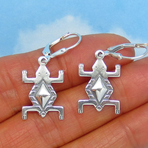 Sterling Silver Petroglyph Frog Earrings - Leverback - Dangle - Native American Design - Geometric - su170733