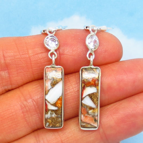 "2"" Dainty Spiny Oyster Earrings - Leverback Dangle - 925 Sterling Silver - Rectangle Bar - White Zircon - Copper Infused - 281533"