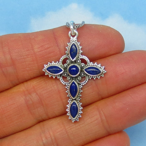 Natural Lapis Lazuli Cross Pendant Necklace - Sterling Silver - Antique Victorian Filigree Design - Genuine Lapis - s171053