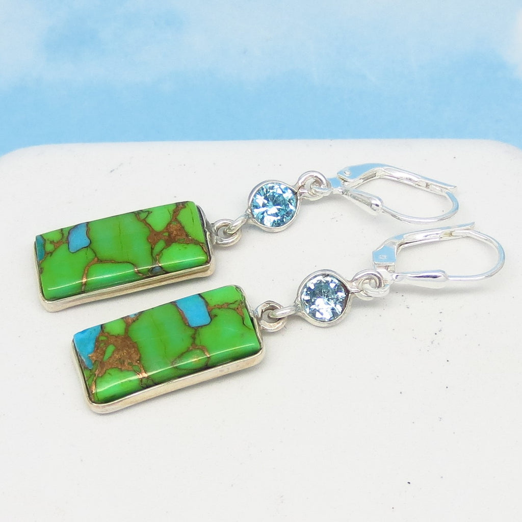 Dainty Mojave Green Copper Turquoise Earrings - Leverback Dangle - 925 Sterling Silver - Rectangle Bar - Blue Topaz - 281606g