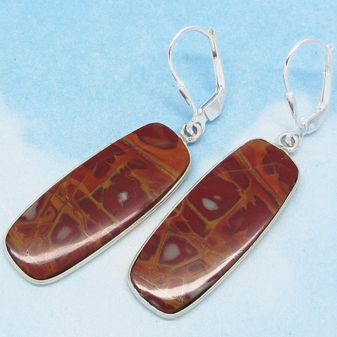 Natural Australian Pilbara Noreena Jasper Earrings - Red Jasper - 925 Sterling Silver - Leverback Dangle - Rectangle - Abstract - 281501r