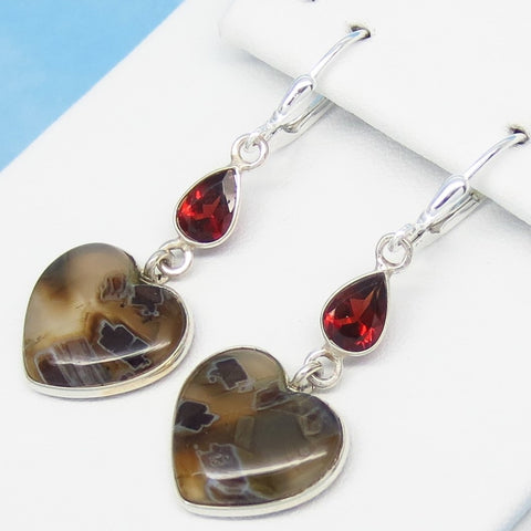 "1-3/4"" Natural Tube Agate Heart Earrings - 925 Sterling Silver Leverback Dangle - 2ctw Garnet Accents - Genuine - 281806-hta"