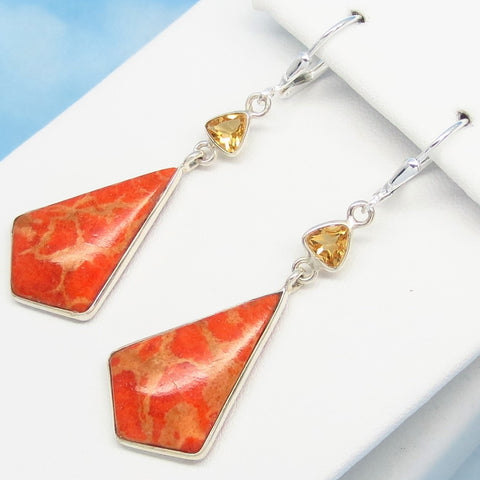 Natural Italian Sponge Coral Earrings - 925 Sterling Silver Leverback Dangle - Citrine Accent - Dagger Arrowhead Triangle Genuine - 281708cr