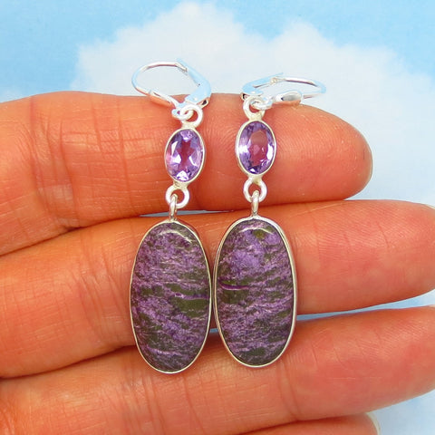 "2-1/16"" Very Rare Natural Purpurite Earrings - 925 Sterling Silver - Long Dangle - Genuine Purpurite & Amethyst - su271802pa"