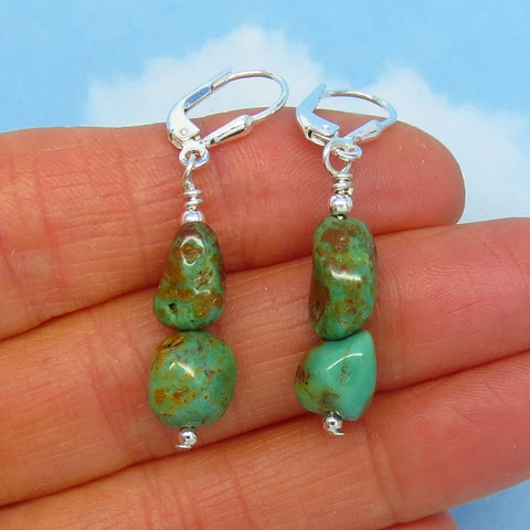 Natural Nevada Turquoise Nugget Earrings - Sterling Silver - Leverback Ear Wires - Royston Mine - USA Turquoise - Genuine - Dangle - 161208
