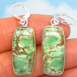 "1-5/8"" Rare Australian Variscite Earrings - 925 Sterling Silver -Leverback Dangle - Natural Genuine - Rectangle Bar Cushion - 282108-vb"