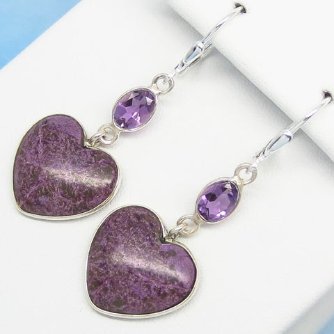 "1-3/4"" Very Rare Natural Purpurite Heart Earrings - 925 Sterling Silver - Long Dangle - Genuine Purpurite & Amethyst - su271803-h"