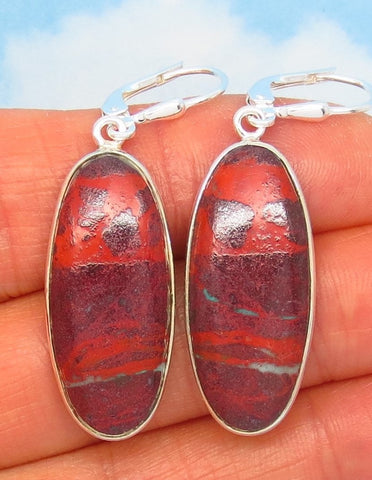 "1-7/8"" Natural Sonora Sunrise Cuprite Earrings - 925 Sterling Silver - Leverback Dangle - Long Oval Abstract - 282001-s"