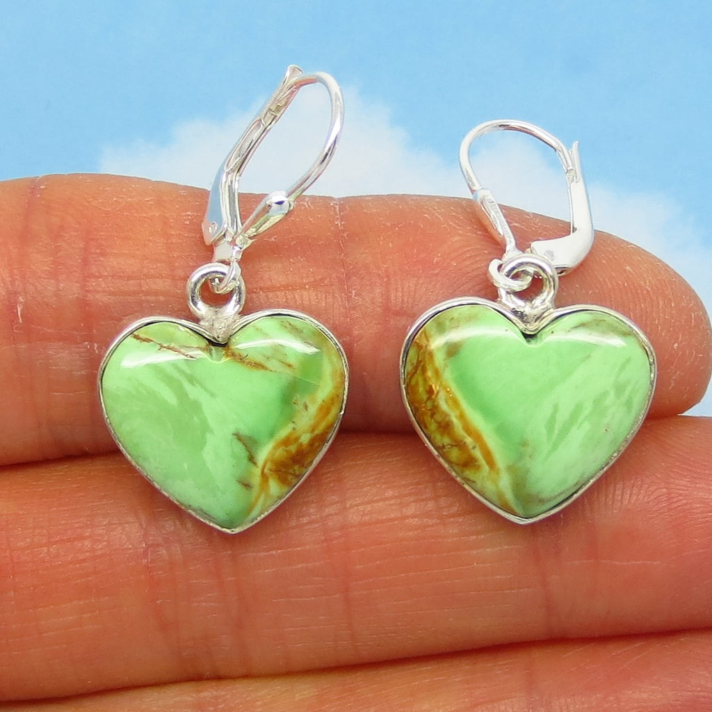 Rare Australian Variscite Heart Earrings - 925 Sterling Silver -Leverback Dangle - Natural Genuine - 282023-vh