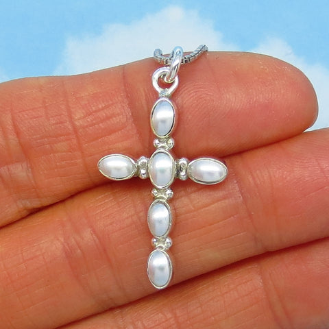 Small Natural White Freshwater Pearl Cross Pendant Necklace - Sterling Silver - Dainty - Simple - su710953