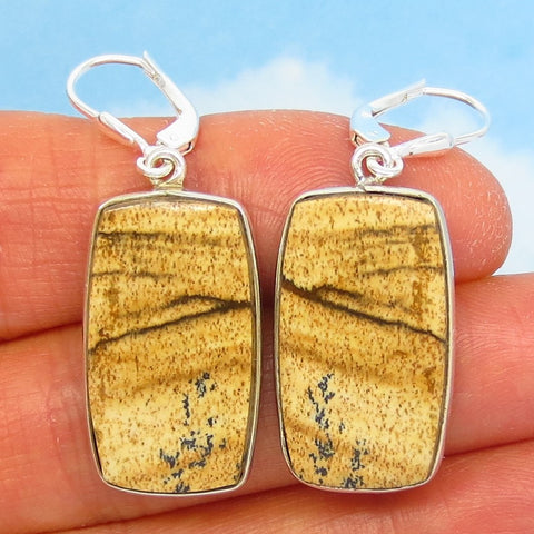 "1-5/8"" Natural Picture Jasper Earrings - Leverback Dangle - 925 Sterling Silver - Large Rectangle Cushion Cut - 281501-r"