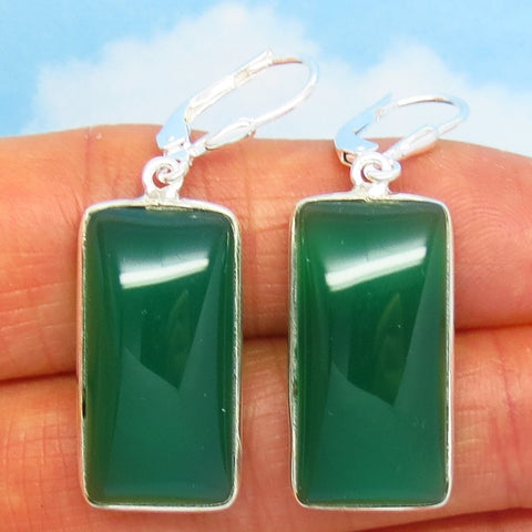 Natural Green Onyx Earrings - Leverback Dangle - 925 Sterling Silver - Large Rectangle Cushion Cut - Chalcedony - 281601-r