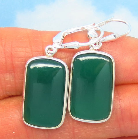 Natural Green Onyx Earrings - Leverback Dangle - 925 Sterling Silver - 19 x 12mm Rectangle - Thin Cushion Cut - Chalcedony - 281602-r