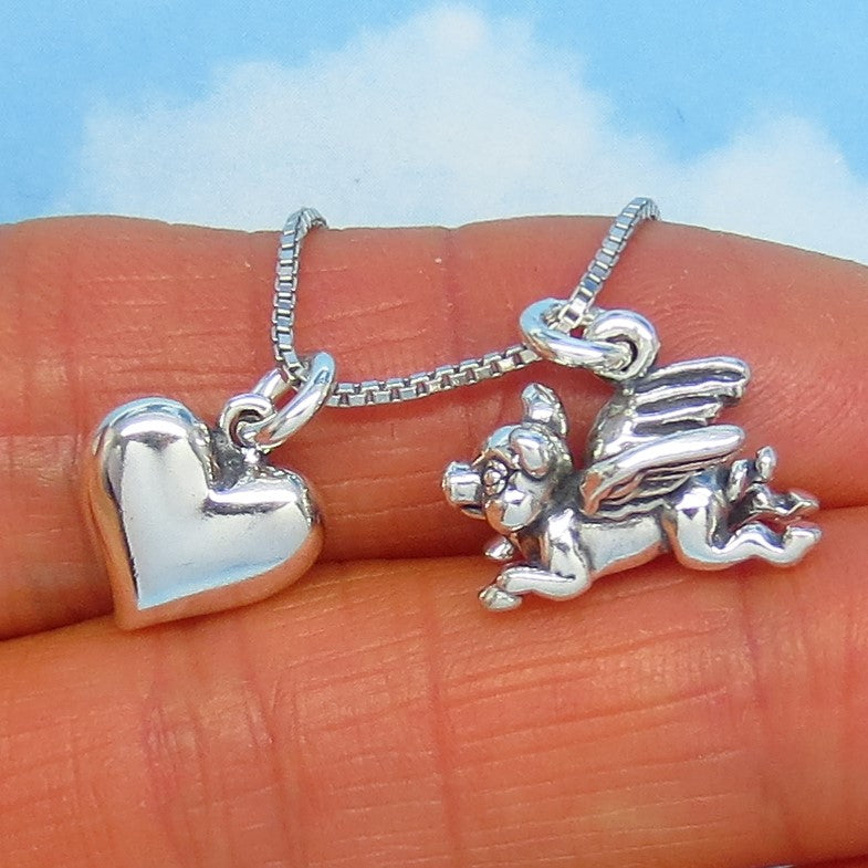 Sterling Silver Flying Pig & Heart Pendant Necklace - 3-D - Victorian Design - Cute Necklace - Whimsical Necklace - nk171401