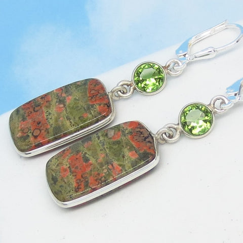 "2"" Natural Unakite & Color Change Zandrite Earrings - 925 Sterling Silver - Leverback Dangle - Rectangle - Cushion - su272301"