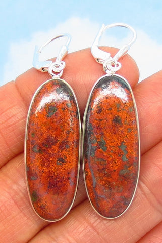 "1-7/8"" Natural Sonora Sunrise Cuprite Earrings - 925 Sterling Silver - Leverback Dangle - Long Oval - 281801-s"