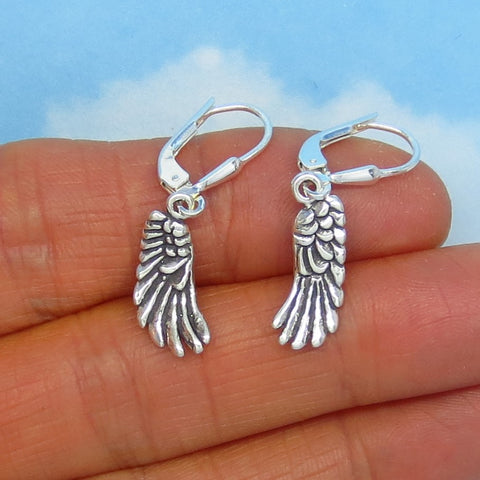 Small Sterling Silver Angel Wing Earrings - Leverback - Dangles - 3-D - Guardian Angel - 170554