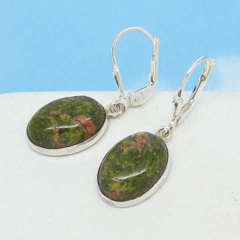 Small 14 x 10mm Natural Unakite Earrings - 925 Sterling Silver - Leverback Dangle - Dainty - Genuine - Jasper - North Carolina - 171401-u