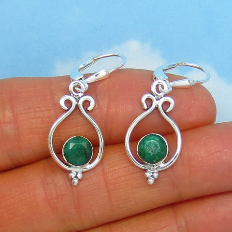 1.6ctw Natural Emerald Filigree Earrings - Sterling Silver - Leverback Dangles - 6mm Round - Raw Genuine India Emerald - su171436