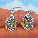 1.7ctw Natural Citrine Earrings - Sterling Silver - Leverback - Pear Shape - Dangles - Genuine Citrine - Boho Bali Gypsy Bohemian - 171653