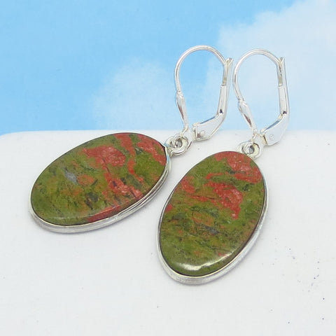 21 x 12mm Natural Unakite Earrings - 925 Sterling Silver - Leverback Dangle - Genuine - Jasper - North Carolina - Flat Cabochons - 171601-u