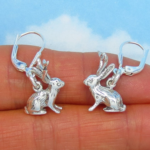 Sterling Silver Jackalope Earrings - Leverback Dangle - 3-D - Bunny Rabbit Earrings - Western - Cute - Whimsical - Funny - 171186