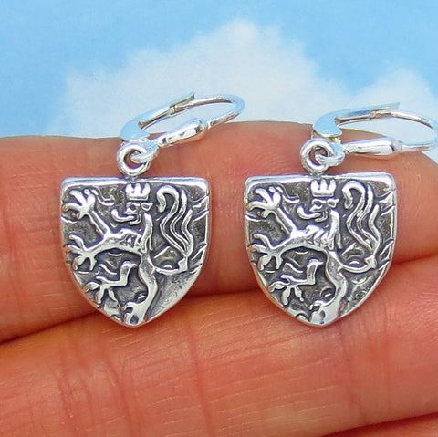 Sterling Silver Lion Shield Earrings - Leverback Dangle - Heraldic - Medieval - England - Britain - Gothic - Coat of Arms - Leo - 171227