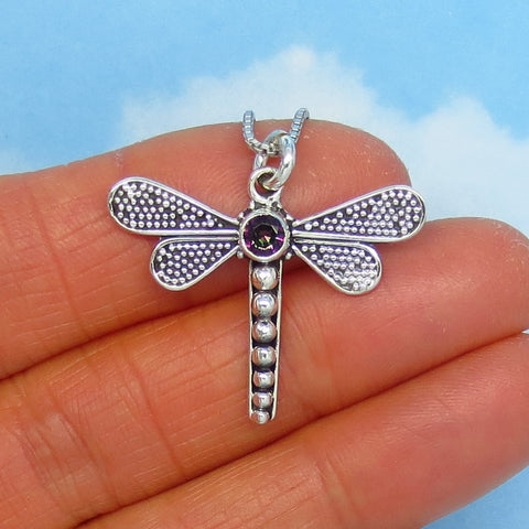 Mystic Topaz Dragonfly Pendant Necklace - Sterling Silver - Crystal Dragonfly - Natural, Genuine Topaz - p260606