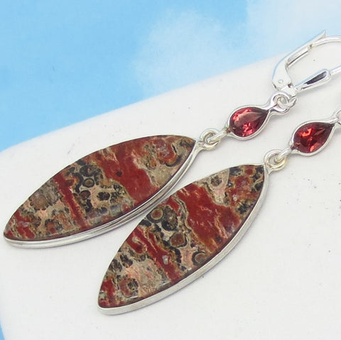 "2-3/8"" Leopard Skin Jasper Earrings - Garnet Accent - 925 Sterling Silver Leverback Dangle - Marquise - Genuine Natural -281506"
