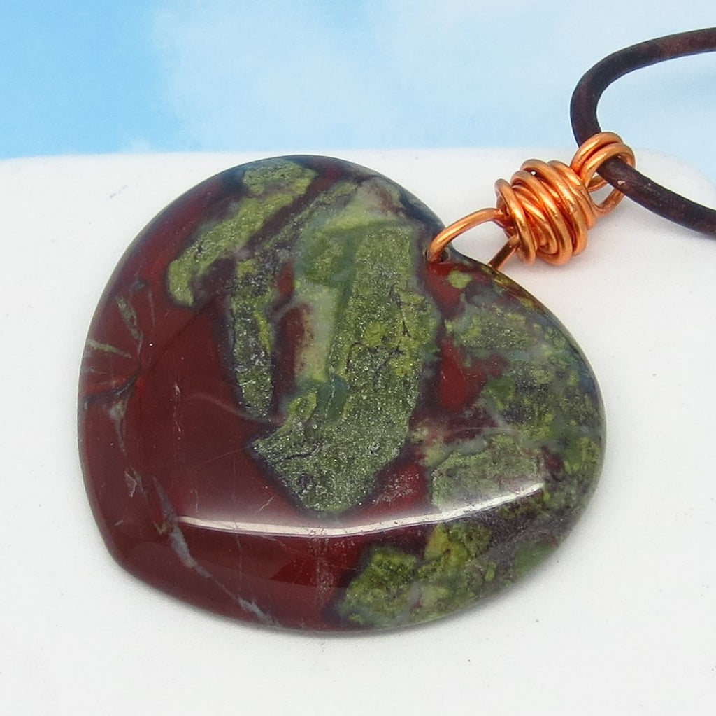 "2"" Natural Dragon Bloodstone Heart Pendant Necklace - Genuine Leather & Solid Copper - Large Heart - Heliotrope - Jasper - Boho - nk2"