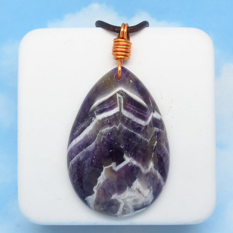 "90.5ct 2-1/2"" Men's Amethyst Pendant Necklace - Genuine Leather Copper - Large Pear Shape - Genuine Natural - Chevron - Boho Western"