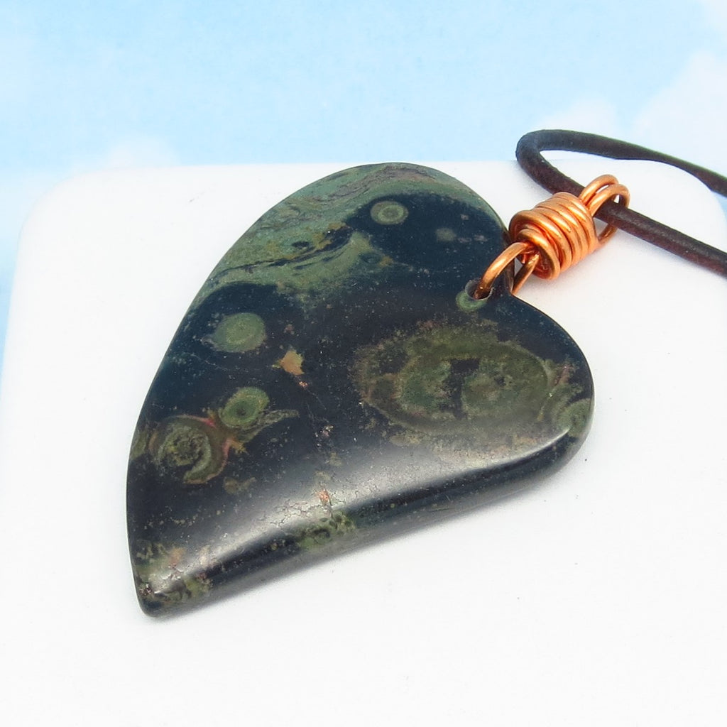 "2-1/4"" Kambaba Galaxy Jasper Heart Pendant Necklace - Genuine Leather & Copper - Large - Natural Genuine Ocean Jasper - Celestial Universe"