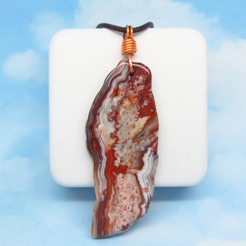 21.4g Men's Mexican Laguna Lace Agate Pendant Necklace - Genuine Leather & Copper - Large - Natural Geode Slice - Boho - Red Agate