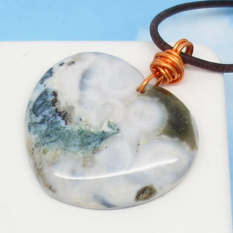 "2"" Ocean Jasper Heart Pendant Necklace - Genuine Leather & Copper - Large - Natural Genuine Ocean Jasper - Druzy Quartz - Agate"