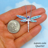Large Blue Lab Opal Dragonfly Pendant Necklace - CZ Accents - Sterling Silver - Firefly - Butterfly - Woodland - Gardener - Garden - j202370