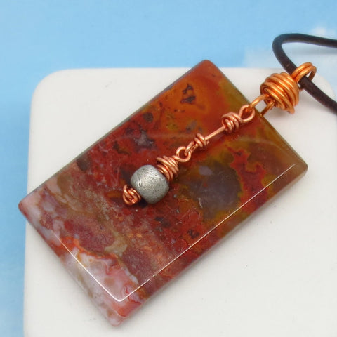 35.5g Men's Red Agate & Meteorite Pendant Necklace - Genuine Leather Copper - Large Rectangle Jasper Natural Warrior Stone - Boho Celestial