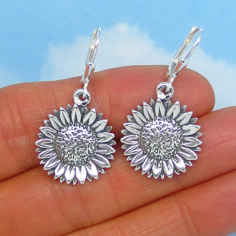"Sterling Silver Sunflower Earrings - Leverback Dangle - ""Pretty Big"" - 7.1g - 3/4"" Diameter - 3D - Daisy - Flower - Large - Gardener 171353"