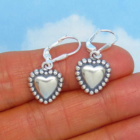 Small Sterling Silver Puff Heart Earrings - Leverback Dangle - Antique Style - Oxidized - Antiqued - Dainty - 170733