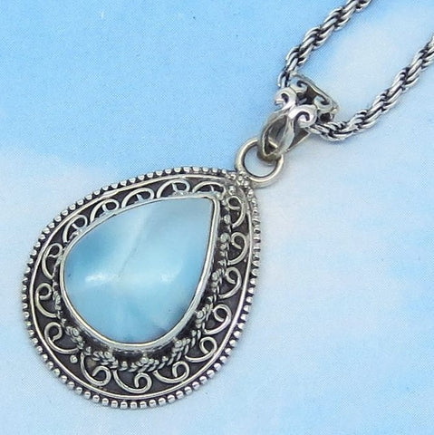 Larimar Pendant or Necklace - Natural Genuine Aqua Gemstone - 925 Sterling Silver - Pear Teardrop Filigree - sa172003