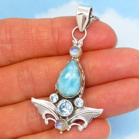 Larimar Pendant or Necklace - Natural Genuine - 925 Sterling Silver - Pear Teardrop - Moonstone & Blue Topaz - Leaf - Angel Wing - jy161553