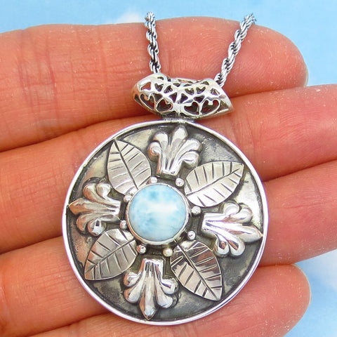 Genuine Larimar Fleur de Lis Pendant Necklace - Sterling Silver - Oxidized - Rope Chain - Round - Large Pendant - Flower Leaf - jy161753